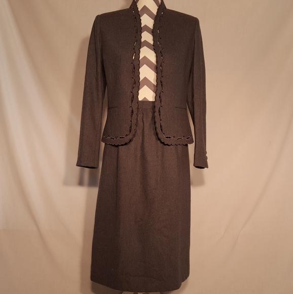 Sasson Vintage Gray Wool Blend Business Suit Sz 10